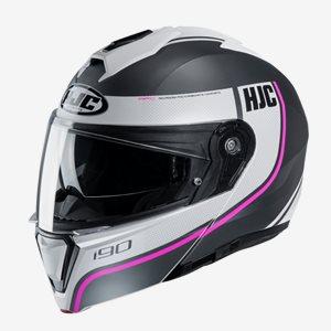 HJC MC Hjälm I90 Davan Grå/Vit/Rosa