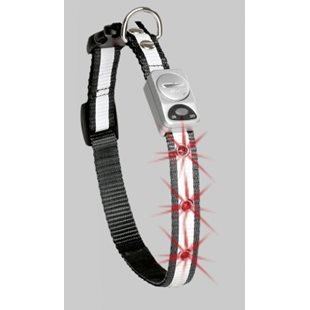 Halsband Nylon Reflex Led Svart 25 mm x 45- 65 Cm