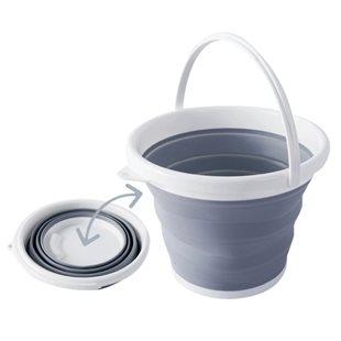 Extra kraftig hopfällbar hink - 10 liter - Grå/Vit