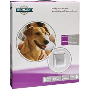 Staywell - Hunddörr - Medium - Vit/transparent lucka