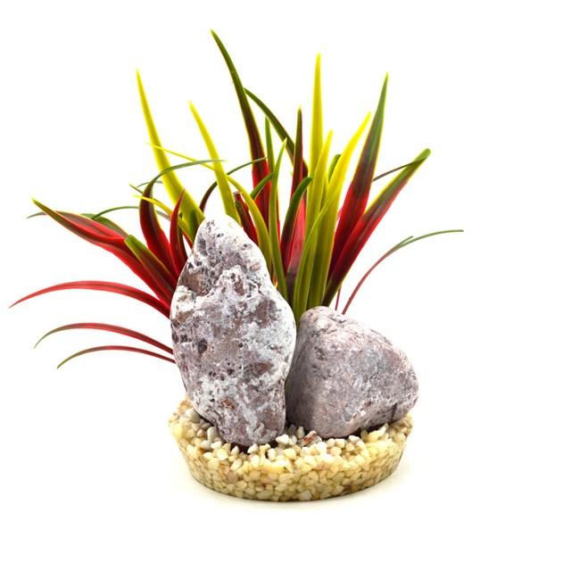 Plastväxt - Zebra Stone Bamboo - Röd - 15 cm