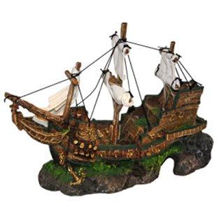 Skeppsvrak Med Segel av tyg - 32 cm