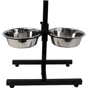 Hundskål - Rostfri - Matbar - Justerbar Höjd - 11-40 cm - 2x1700 ml - 19 cm