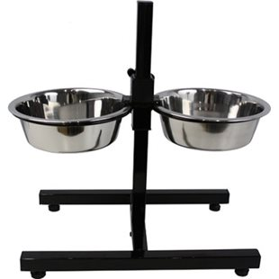Hundskål - Rostfri - Matbar - Justerbar Höjd - 11-40 cm - 2x3950 ml - 26 cm
