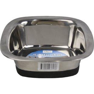 Hundskål - Rostfri - Fyrkantig - Sluttande - 1450 ml