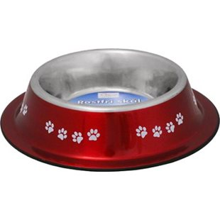 Hundskål - Rostfri - Nontip - Röd - 600 ml