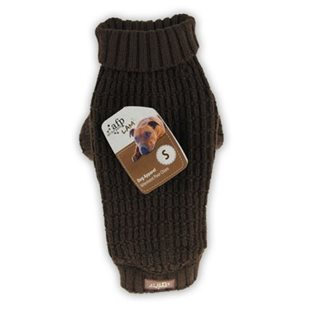 Hundtröja - Fishermans Sweater - Stickad - Brun - M - 30.5 cm
