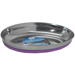 Kattskål - Rostfri - Oval - Rosa - 250 ml