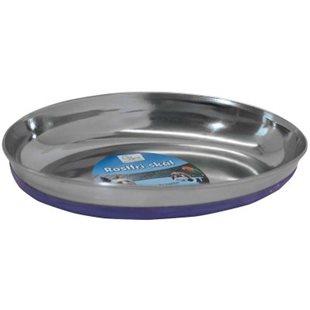 Kattskål - Rostfri - Oval - Blå - 250 ml