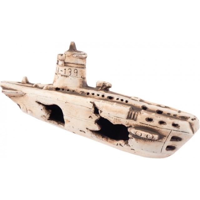 U-båts vrak i keramik - 25x11x8 cm