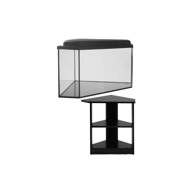 Hörnakvarium 64 liter - med belysning och bänk