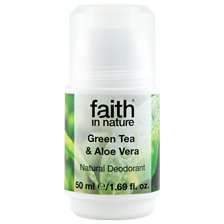 Faith in Nature Green Tea & Aloe Vera Roll-on Deodorant, 50 ml
