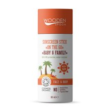 "Wooden Spoon Sunscreen Stick ""On The Go"" Baby & Family SPF 45+, 60 ml"