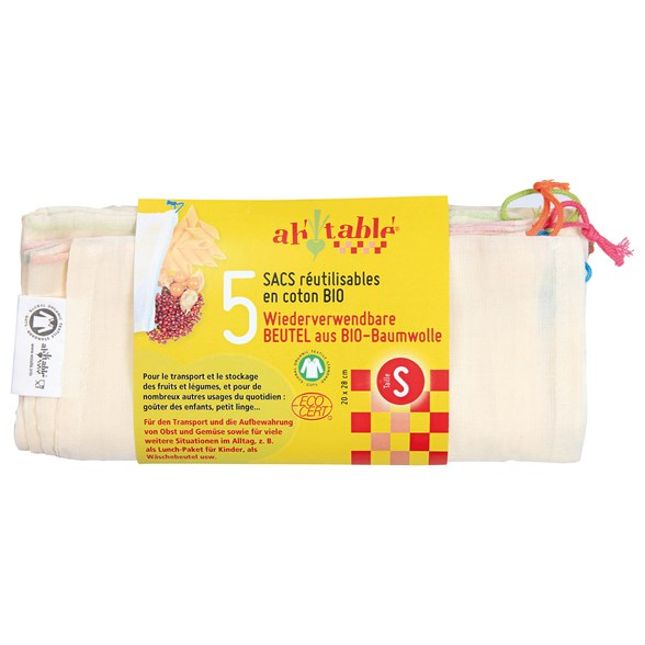 Ah! Table! Ekologisk Tygpåse med dragsko - Small, 5-pack