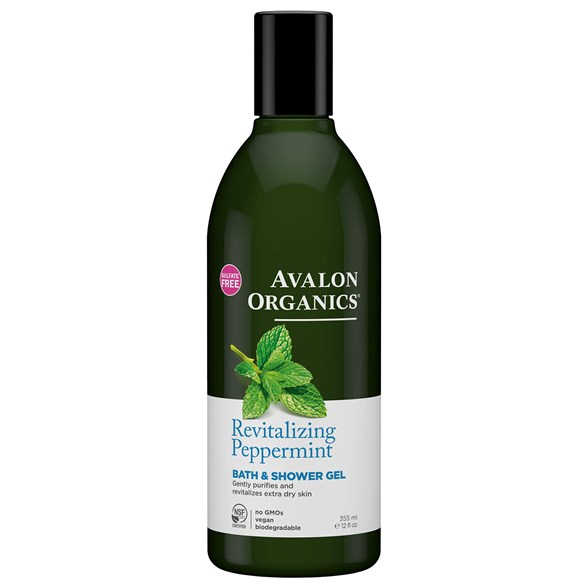 Avalon Organics Revitalizing Peppermint Bath & Shower Gel, 355 ml