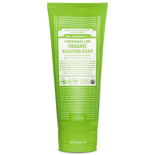 Dr. Bronner's Organic Shaving Soap Lemongrass Lime, 207 ml