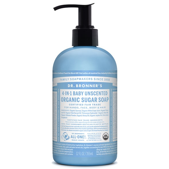 Dr. Bronner's Organic Sugar Soap Baby Unscented, 355 ml