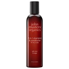 John Masters Organics 2-in-1 Shampoo & Conditioner for Dry Scalp with Zinc & Sage, 236 ml