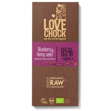 Lovechock Raw Chocolate Blueberry & Hemp Seed, 70 g