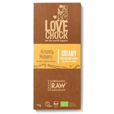 Lovechock Raw Chocolate Creamy Almond & Mulberry, 70 g