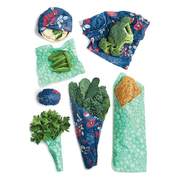 Bee's Wrap Naturligt Folie Variety Pack - Botanical Blue & Floral Teal, 7 st