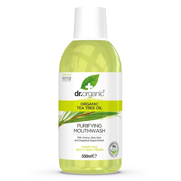 Dr. Organic Tea Tree Mouthwash, 500 ml