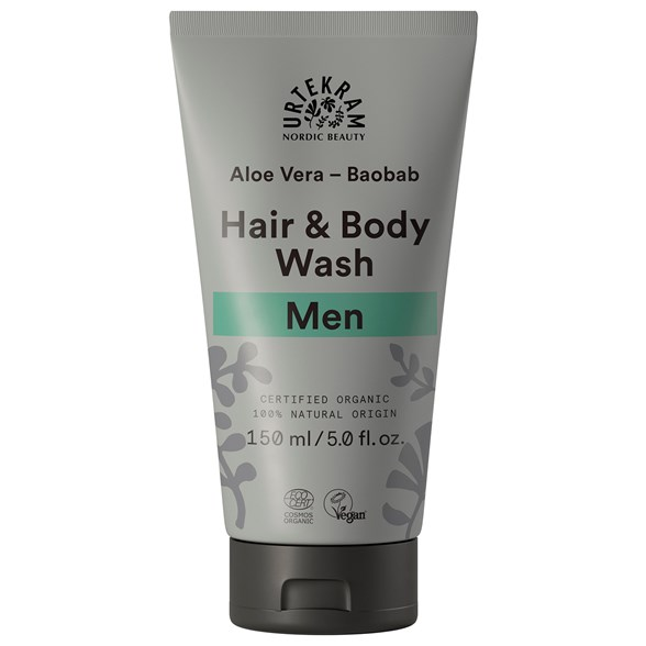 Urtekram Men Hair & Body Wash - Aloe Vera & Baobab, 150 ml