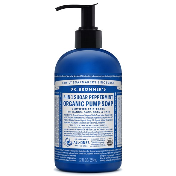 Dr. Bronner's Organic Pump Soap Peppermint, 355 ml