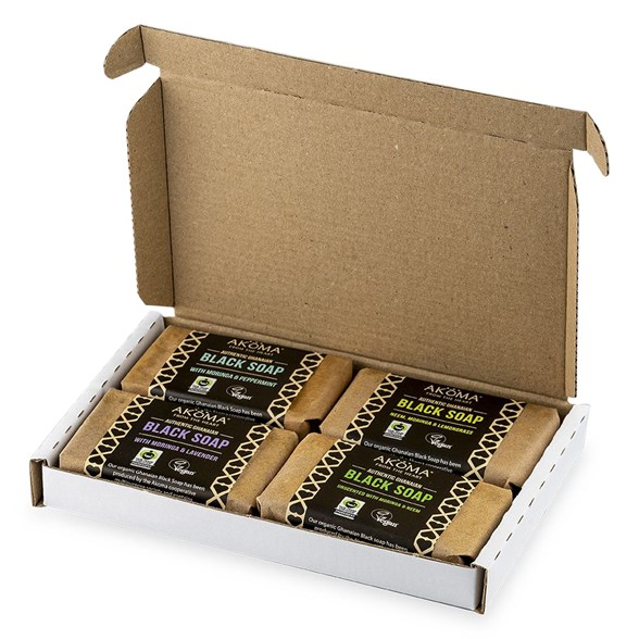 Akoma African Black Soap Assorted Collection, 4 x 60 g