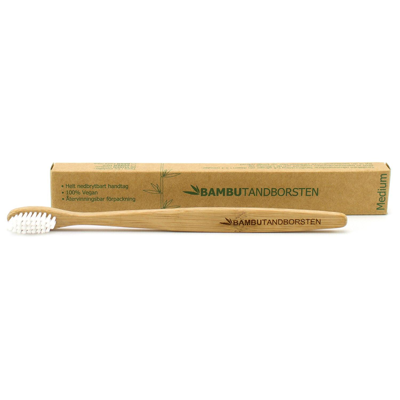 Bambutandborsten Naturlig Tandborste i bambu - Medium - jordklok.se 47141e73dc048