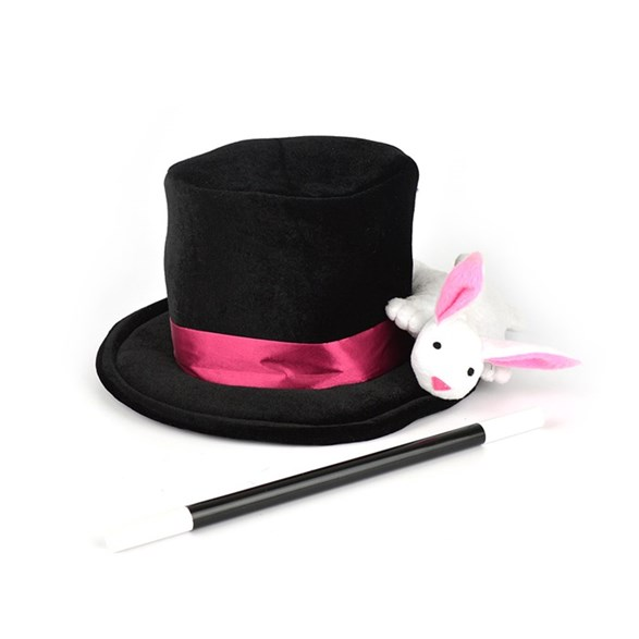 Magician hat with rabbit & wand