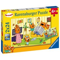 Pussel 2x24 bitar, at home with kid-e-cats