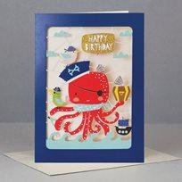 Happy birthday card, octopus