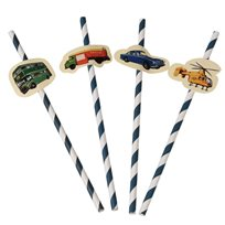 Vintage Transport Party Straws (Pack Of 4)