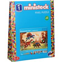 Pixel Puzzle Dinosaurier, 4-In-1