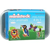Pixel Puzzle Zoo Animals, 4-In-1