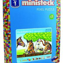 Pixel Puzzle Horse Heads, 4-In-1