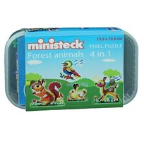 Pixel Puzzle Forest Animals, 4-In-1