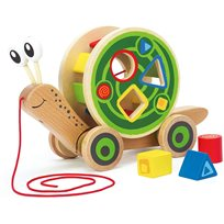 Walk-a-long snail shape sorter